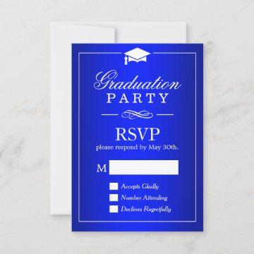 Plain Royal Blue Graduation Party RSVP Card