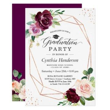 Plum Purple Blush Floral 2020 Graduation Party Invitation