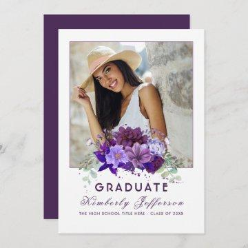 Plum Violet Purple Floral Photo Graduation Invitation