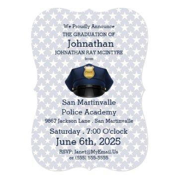 Police Academy Graduation in Navy Blue Invitation