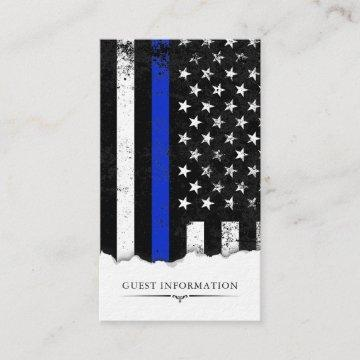 Police Style American Flag Party|Event Mini Info Enclosure Card