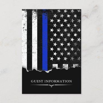 Police Style American Flag Party|Event Small Black Enclosure Card