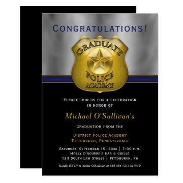 Policeman Police Cop Graduation Announcement Party