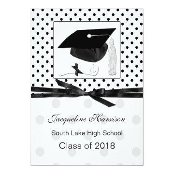 Polka dot, mortar Graduation Announcement