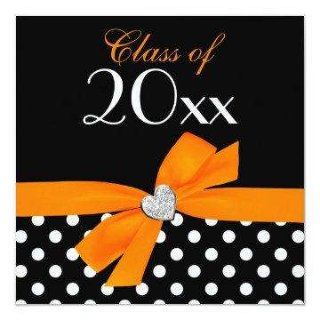 Polka Dot Orange Black Bow Heart Graduation Party Card