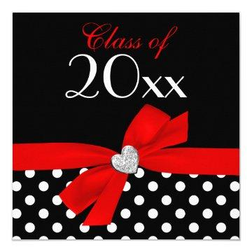 Polka Dot Red Black Bow Heart Graduation Party Card