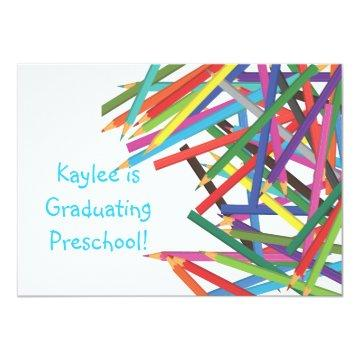 Preschool Kindergarten Graduation Colored Pencils Card