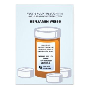 Prescription Bottle Pharmacist Graduation Invitati Invitation