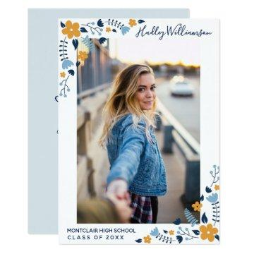 Pretty Blue Flowers Graduation Party Grad Photo Card