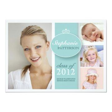 Pretty Girl 4 Photo in Teal Graduation Invitation