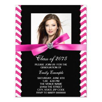 Pretty Pink Chevron Photo Graduation Card