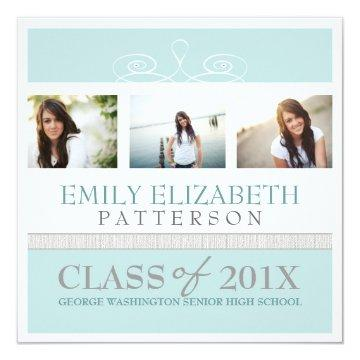 Pretty Swirl Photo Collage Graduation Invitation