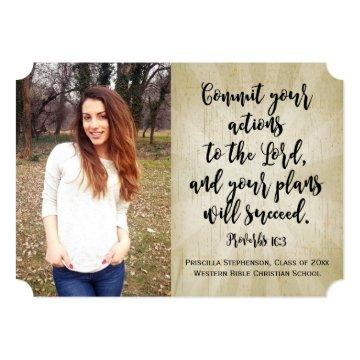 Proverbs 16 Christian Bible Verse Photo Graduation Card