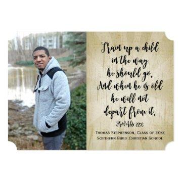 Proverbs 22 Christian Bible Verse Photo Graduation Card