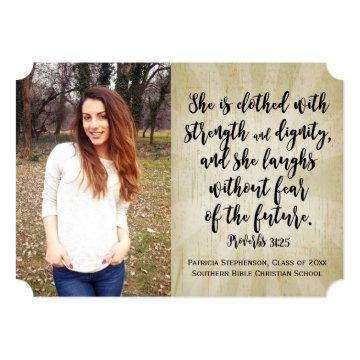 Proverbs 31 Christian Bible Verse Photo Graduation Invitation