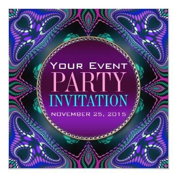 Psychedelic Blacklight Adult Party Invitation