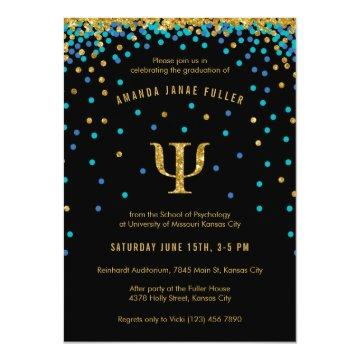 Psychology Graduation Invitation Blue & Gold Psi