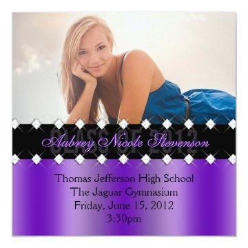 Purple and Black Chic Diamond Graduation Invite
