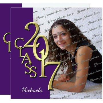Purple and Gold Class of 2017 Photo Graduation Card