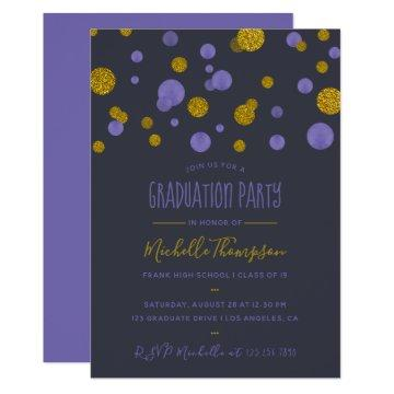 Purple and Gold Glitter Confetti Graduation Party Invitation