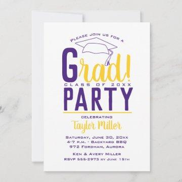 Purple School Color Graduation Invitations