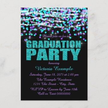 Purple and Teal Confetti Graduation Party Invitation