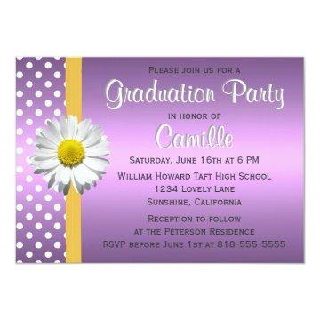 Purple and Yellow Daisy Graduation Party Card