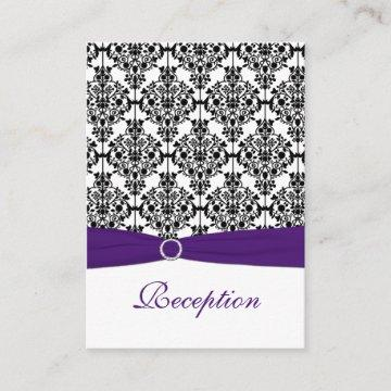 Purple, Black and White Damask Reception Card