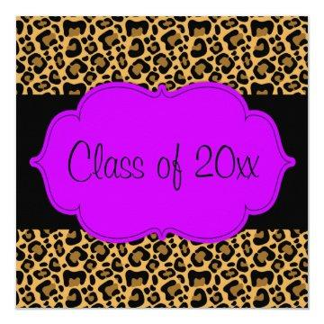 Purple Black Leopard Graduation Party Announcement
