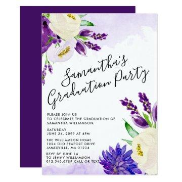 Purple Boho Floral Graduation Party
