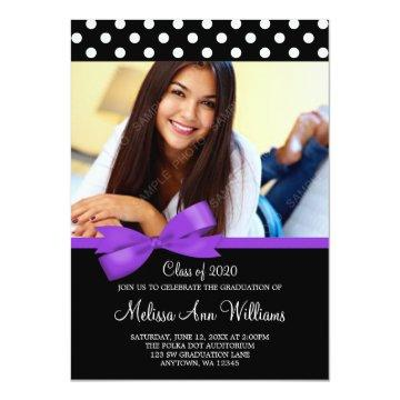 Purple Bow Polka Dot Photo Graduation Announcement