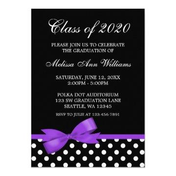 Purple Bow Polka Dots Graduation Announcement
