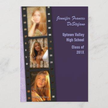 Purple Color Block Grad Photo Card