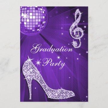 Purple Disco Ball Sparkle Heels Graduation Invitation