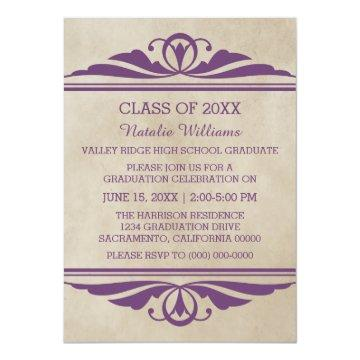 Purple Elegant Deco Graduation Invite