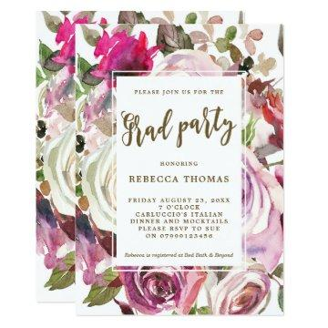 Purple floral modern Graduation party invitation