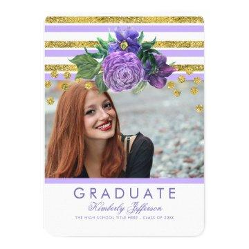 Purple Flowers and Gold Stripes Elegant Graduation Invitation
