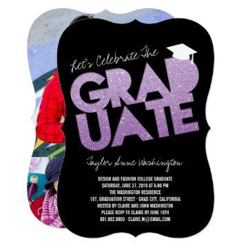 Purple Glitter Graduate Cutout Graduation Party Card