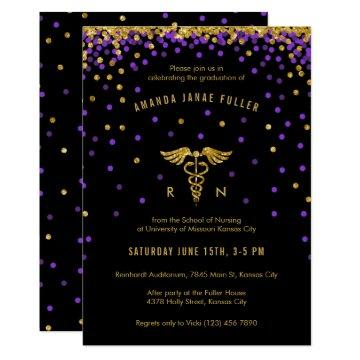 Purple & Gold Confetti Nurse Graduation