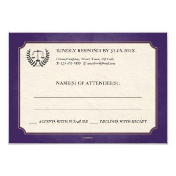 Purple   Gold Law Firm/Law School Graduation RSVP Card