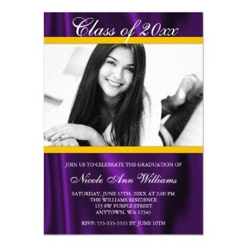 Purple Gold Satin Photo Graduation Announcement