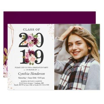 Purple Love Floral Rose Gold Photo Graduation Invitation