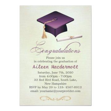 Purple mortar and diploma Graduation Party Invitation