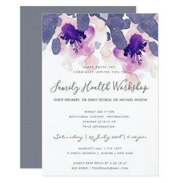 PURPLE PINK INK WATERCOLOR FLORAL WORKSHOP EVENT Invitations