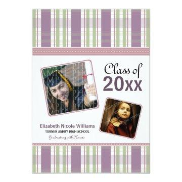 Purple Preppy Plaid Custom Graduation Announcement