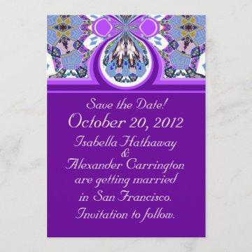 Purple Save the Date Wedding Announcement Card