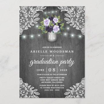 Purple Silver Gray Floral Rustic Graduation Party Invitation