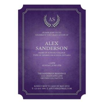 Purple & Silver Monogram/Laurel Wreath Graduation Invitation