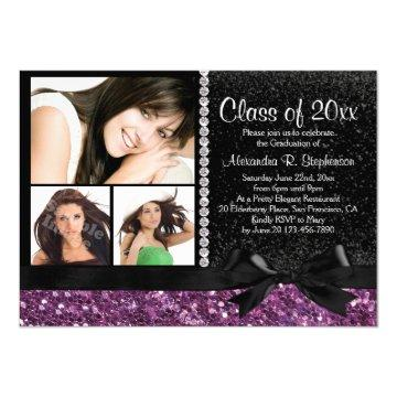 Purple Sparkle Bow 3 Photo Graduation Party Card