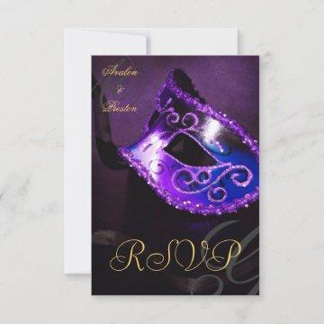 Purple Swirl Masquerade Mask RSVP Invitation